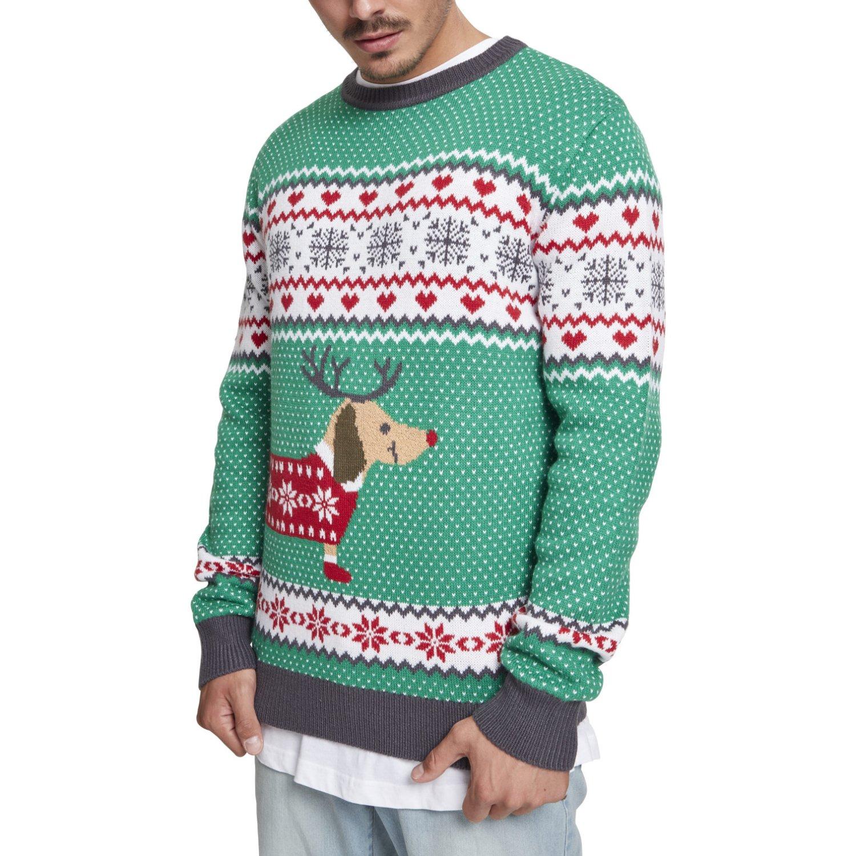 Urban Classics Sausage Dog Christmas Sweater grün