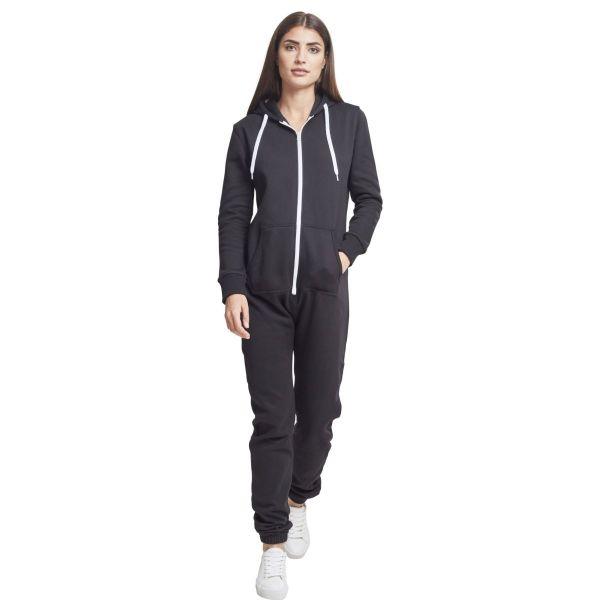 Urban Classics Ladies - Sweat Jumpsuit schwarz / weiß