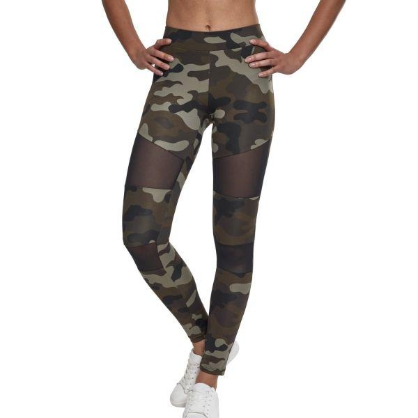 Urban Classics Ladies - TECH MESH Fitness Leggings wood camo
