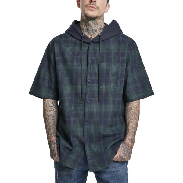 Urban Classics - FLANELL Hooded Short Sleeve Karohemd Shirt
