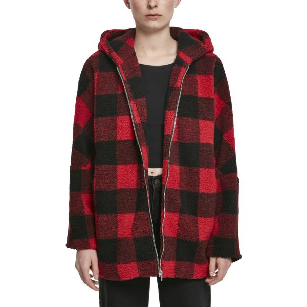 Urban Classics Ladies - Oversized Check SHERPA Veste rouge