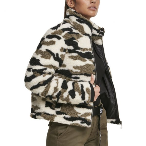 Urban Classics Ladies - SHERPA Jacke wood camo