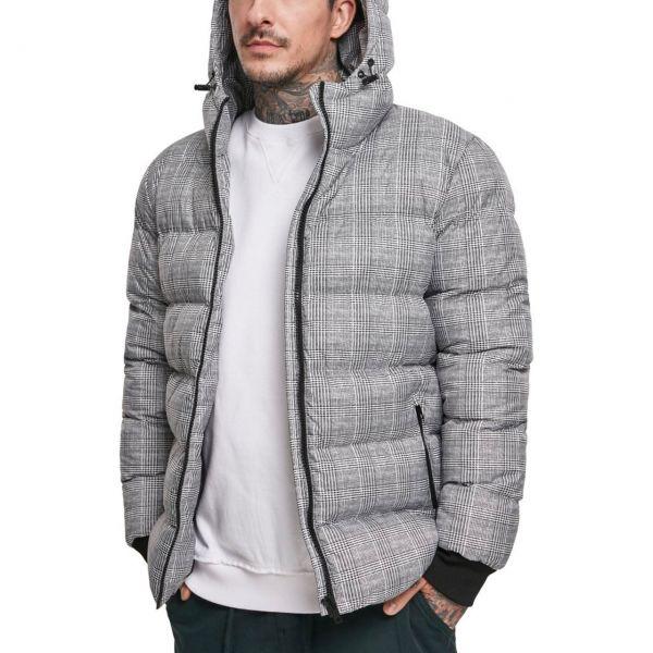 Urban Classics - Hooded Check Puffer Winterjacke grau