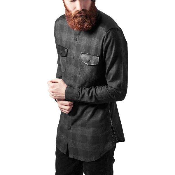 Urban Classics - LONG FLANELL Zip Chemise noir / blanc