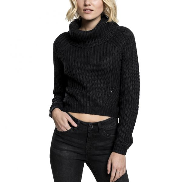 Urban Classics Ladies - Short Turtleneck Sweater noir