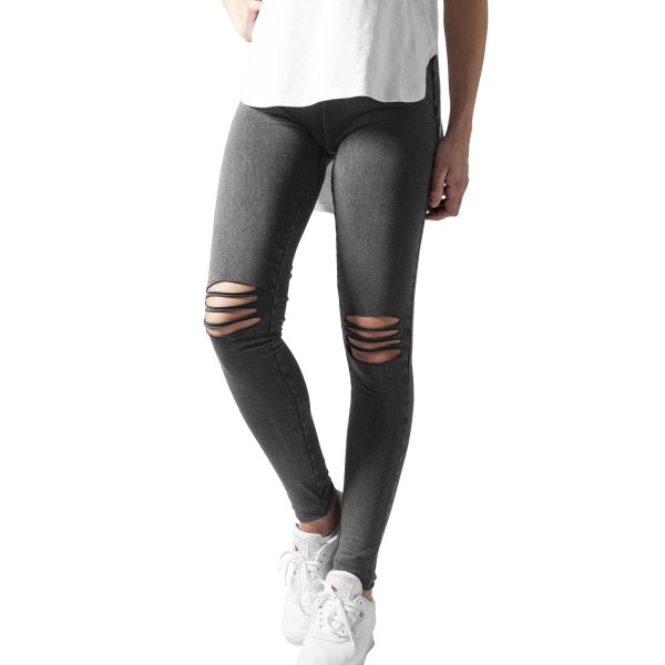 Urban Classics Ladies - Cutted Knee Leggings charcoal