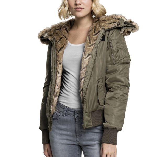 Urban Classics Ladies - Kunstpelz Bomber Winter Jacke