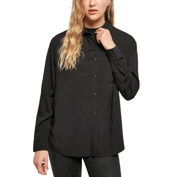 Urban Classics Ladies - Oversize Bluse Hemd schwarz