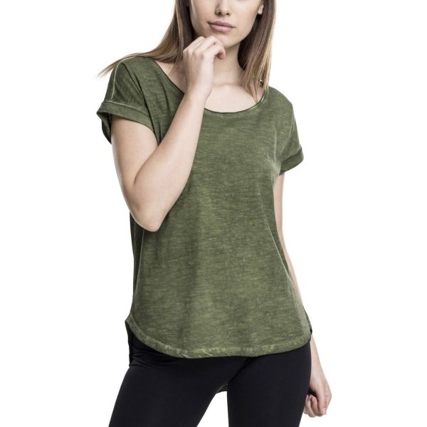 Urban Classics Ladies - Long Shaped Spray Dye HiLo Shirt Top