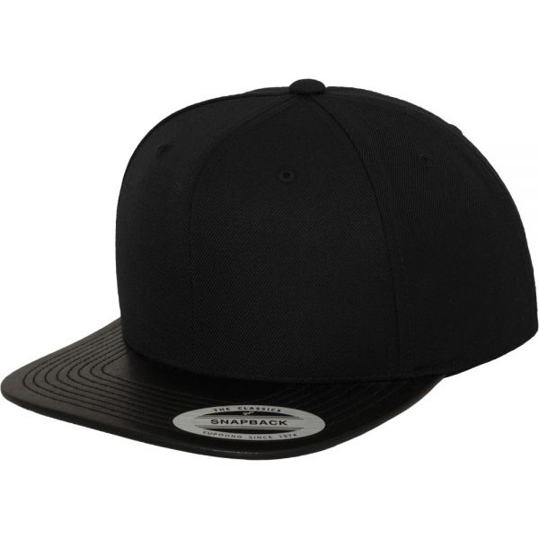 Flexfit Kunstleder Visor Snapback Cap - schwarz