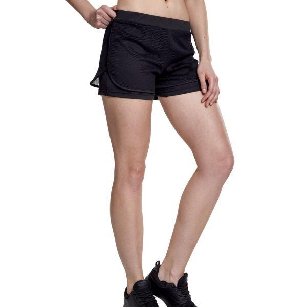 Urban Classics Ladies - Double Layer Mesh Sport Shorts