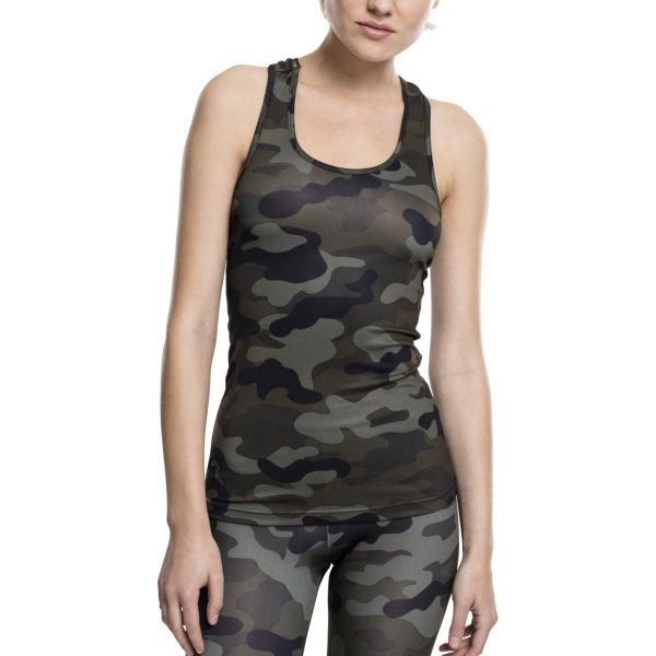 Urban Classics Ladies - SPORTS Fitness Tank Top army camo
