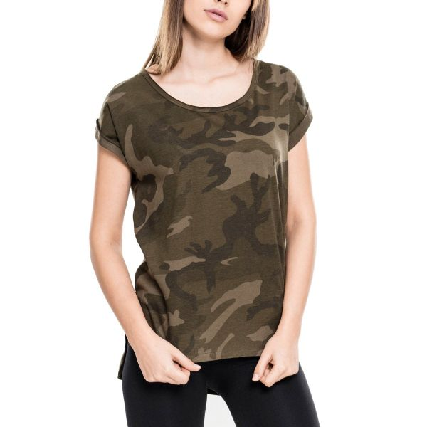 Urban Classics Ladies - Long Shaped HiLo Top Shirt camo