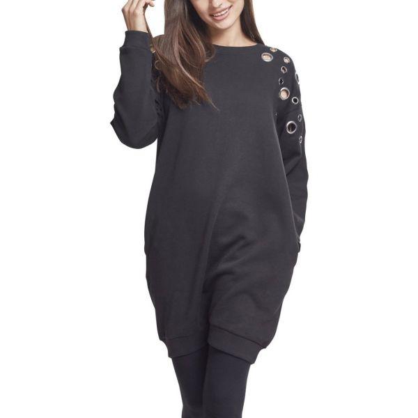 Urban Classics Ladies - Long Sweat Ösen Kleid schwarz