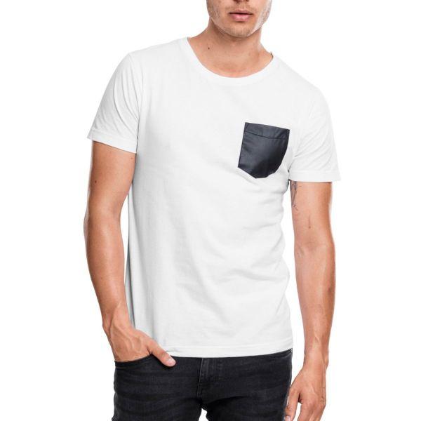 Urban Classics - SLUB Similicuir POCKET Shirt blanc