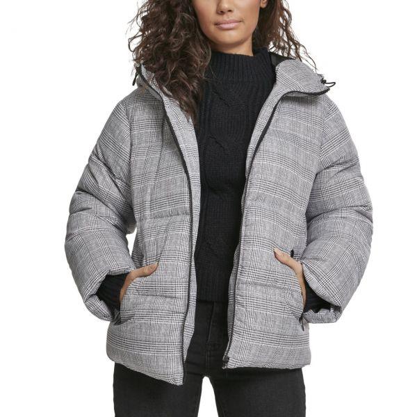 Urban Classics Ladies - Glencheck Puffer Hooded Winterjacke