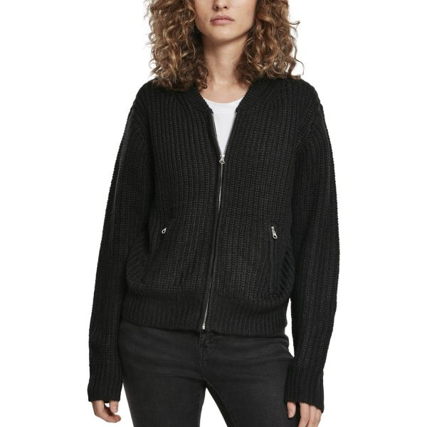 Urban Classics Ladies - Strick Knit Bomber Jacke schwarz