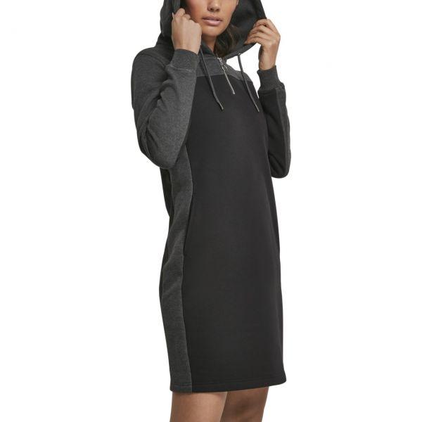 Urban Classics Ladies - 2-Tone Hooded Kleid schwarz