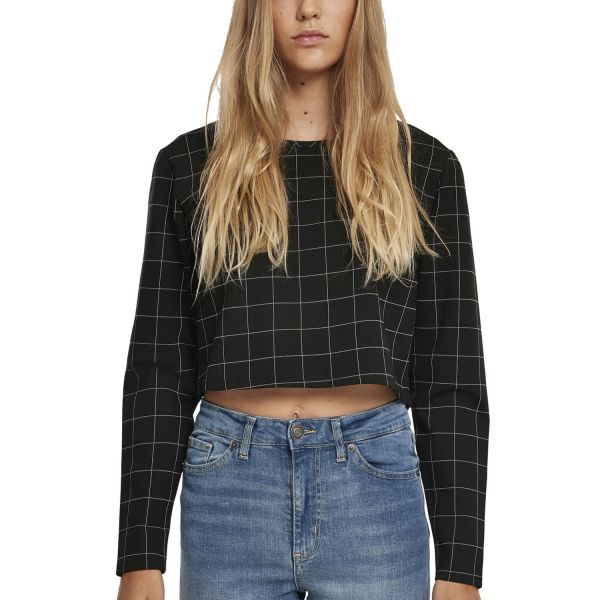 Urban Classics Ladies - CHECK Cropped Pullover black