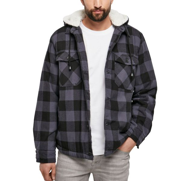 Brandit - Hooded Flanell Jacke schwarz / charcoal
