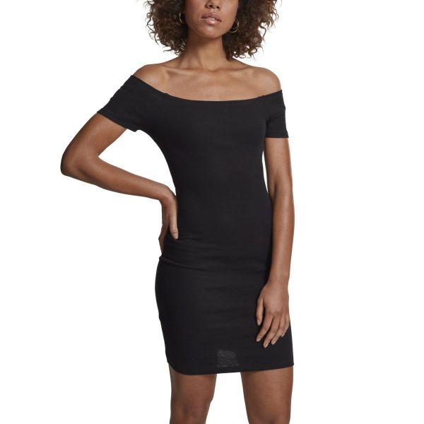 Urban Classics Ladies - Off Shoulder Rib Stretch Kleid