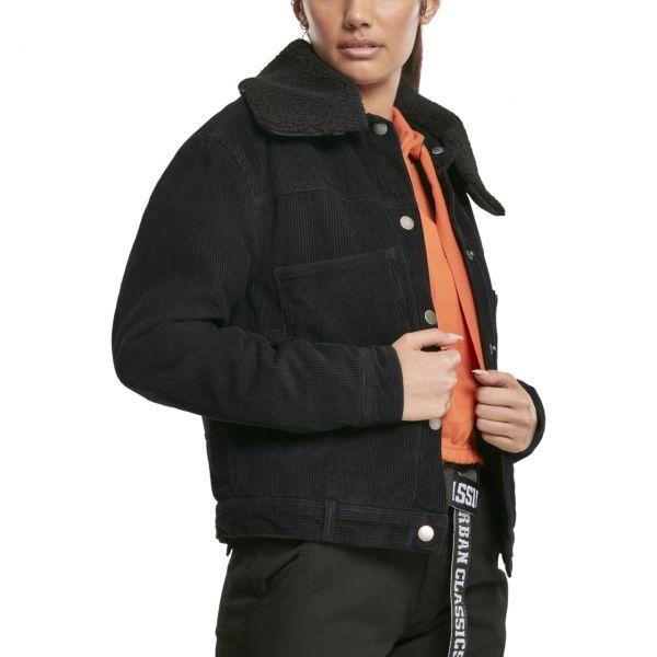 Urban Classics Ladies - OVERSIZED SHERPA Cord Jacke schwarz