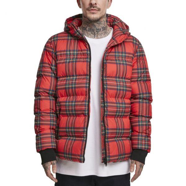 Urban Classics - Hooded Check Puffer Stepp Winterjacke