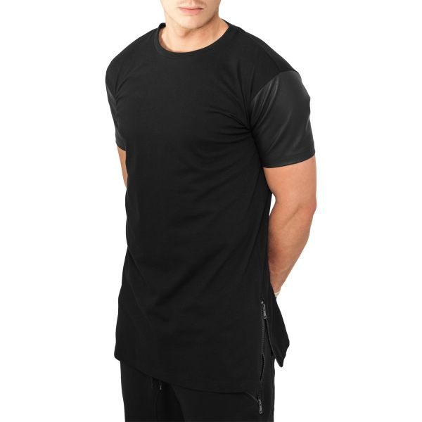 Urban Classics - SIDEZIP Kunstleder Long Shirt schwarz
