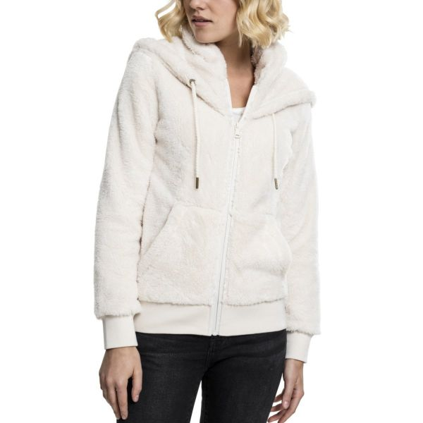 Urban Classics Ladies - TEDDY Zip Hoody Sweater
