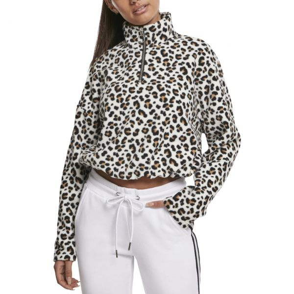 Urban Classics Ladies - Polar Fleece Troyer leopard