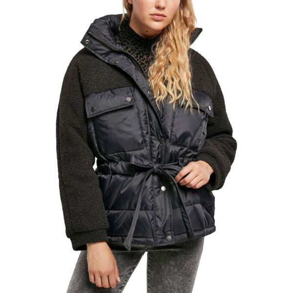 Urban Classics Ladies - Sherpa Puffer Jacke schwarz