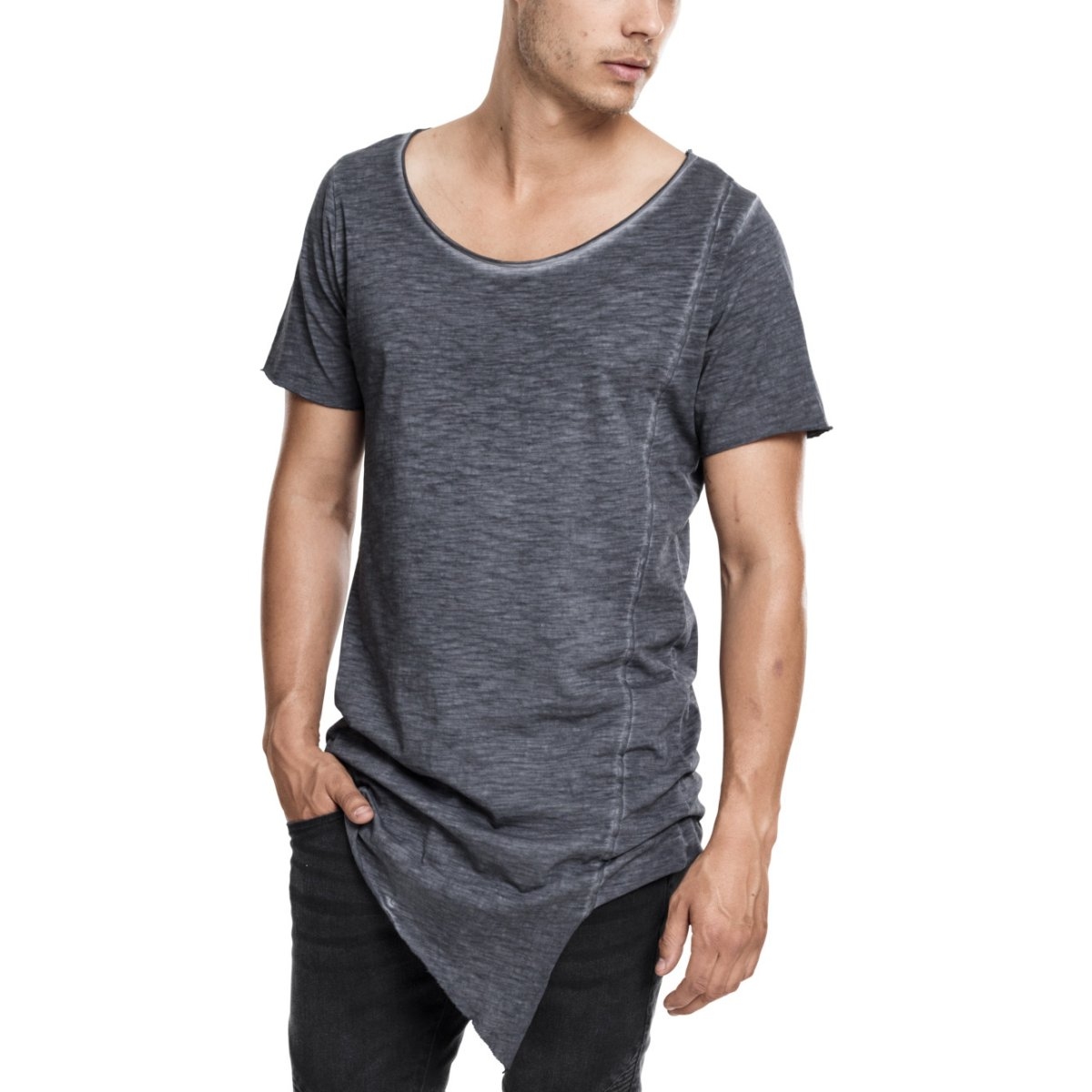 Urban Classics ASYMETRIC DYE SHAPED Long Tee dark grey