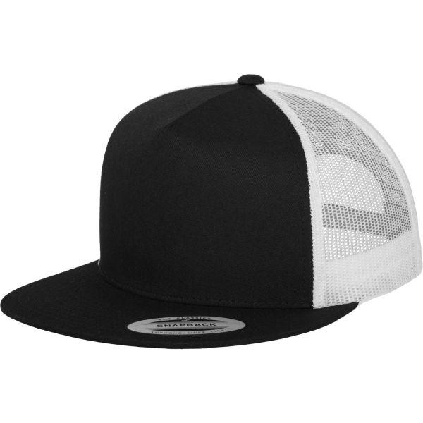 Flexfit Trucker 5-Panel Snapback Cap - schwarz / weiß