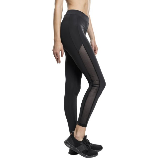 Urban Classics Ladies - TECH MESH Stripe Leggings schwarz