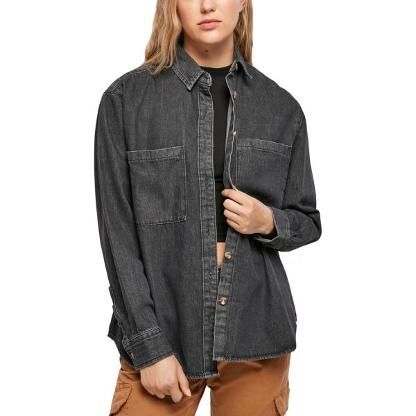 Urban Classics Ladies - DENIM Oversized Shirt Hemd