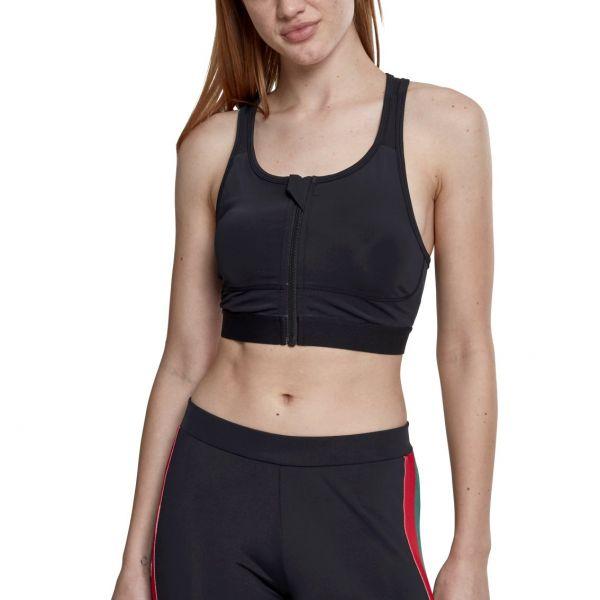Urban Classics Ladies - Tech Mesh Sports Zipped Bra noir