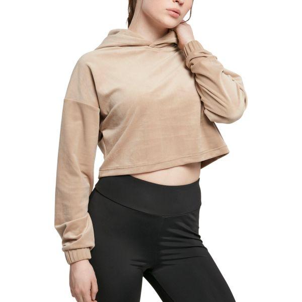 Urban Classics Ladies - VELVET Short Oversized Cropped Hoody
