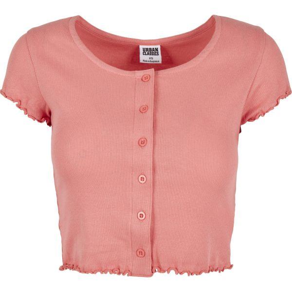 Urban Classics Ladies - Cropped Button Up Rib Top