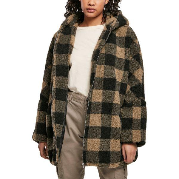 Urban Classics Ladies - Oversized Check SHERPA Hooded Jacke
