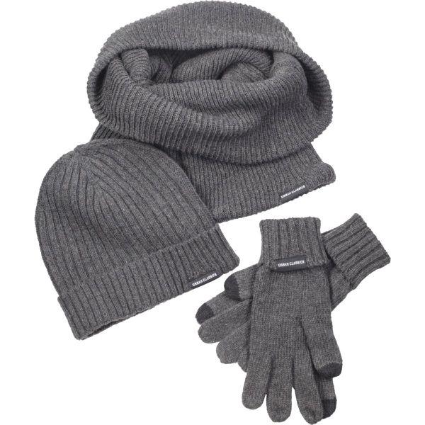 Urban Classics - WINTER SET Mütze Schal Handschuhe grau