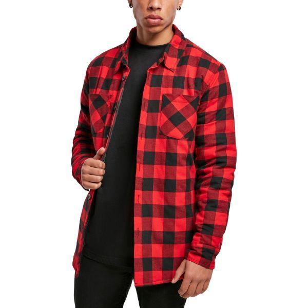 Urban Classics - Check Flannel Hemd rot, gefüttert
