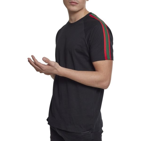 Urban Classics - STRIPE Shoulder Shirt noir / rouge / vert