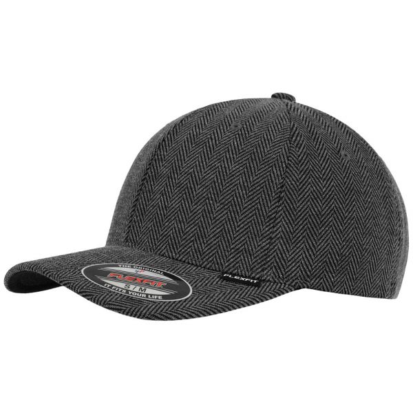 Flexfit Herringbone Melange Cap - schwarz / heather grau