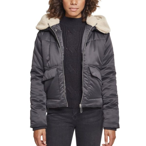 Urban Classics Ladies - Sherpa Hooded Shiny Winterjacke