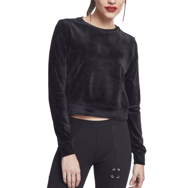 Urban Classics Ladies - VELVET Velours Samt Short Sweater