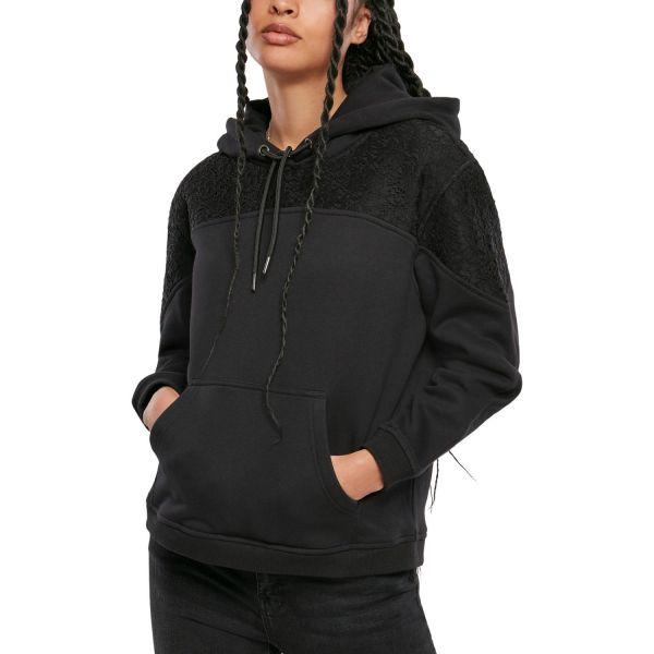 Urban Classics Ladies - Lace Inset Hoody schwarz