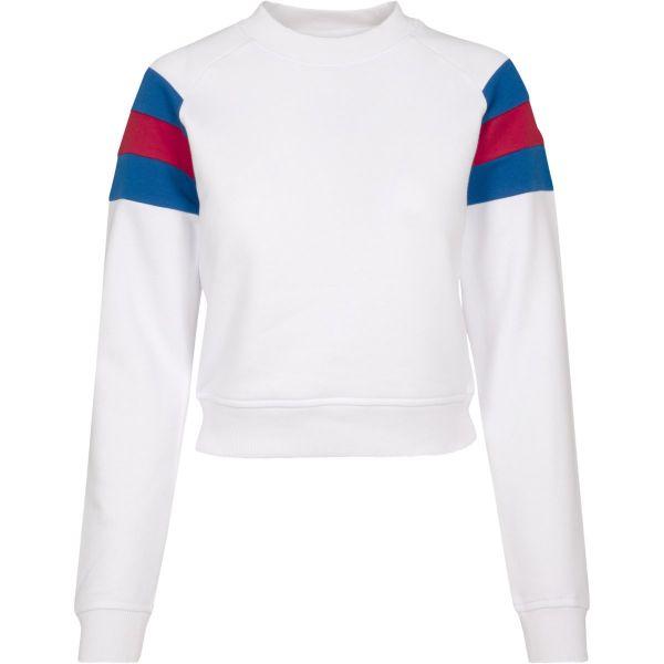 Urban Classics Ladies - Sleeve Stripe Short Crew Pullover