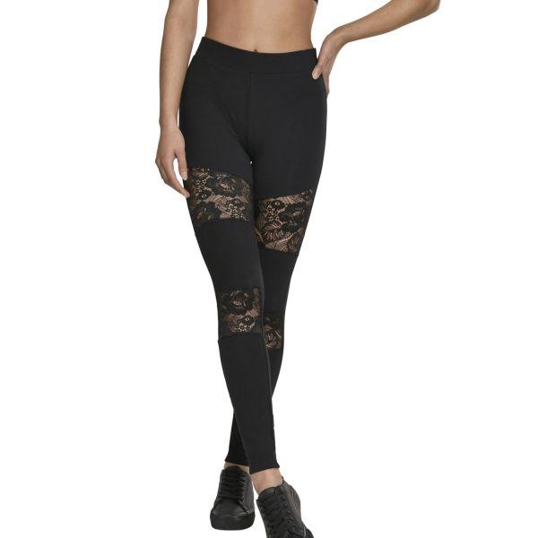 Urban Classics Ladies - Laces Inset Leggings black