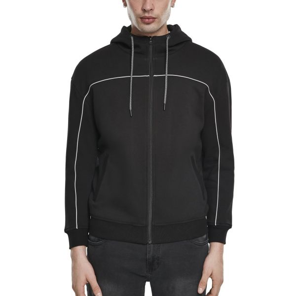 Urban Classics - Reflective Piping Zip Hoody schwarz