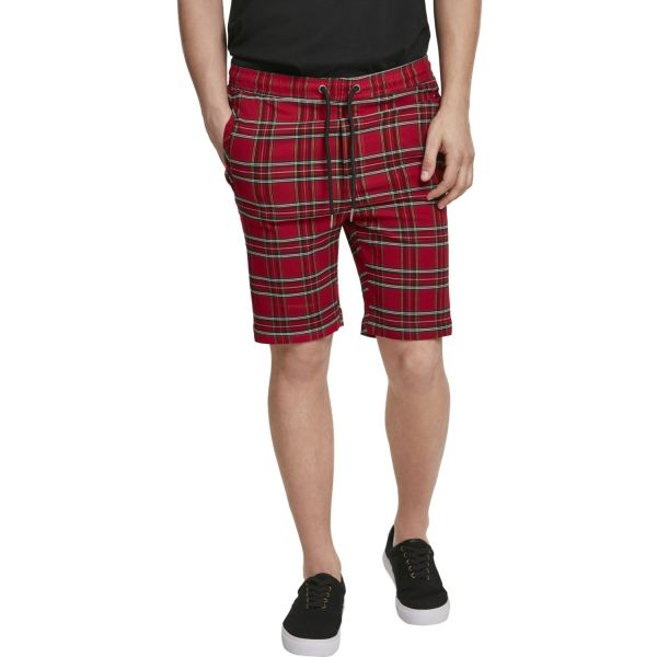 Urban Classics - TARTEN Stretch Shorts rot / schwarz